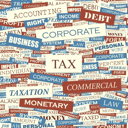 TAX  Word collage  Seamless vector pattern  Vector