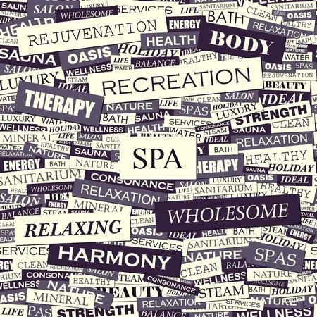 SPA  Word collage  Seamless illustration