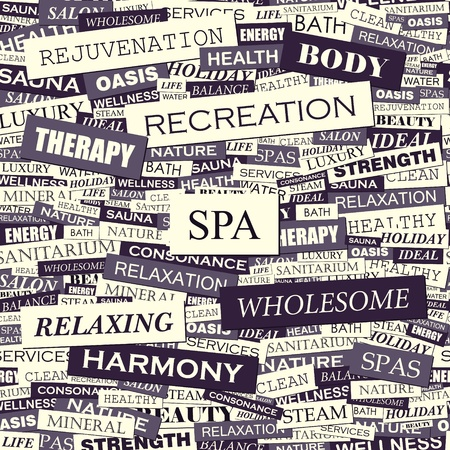 SPA  Word collage  Seamless illustration  Vector