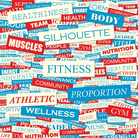 ejercicio aer�bico: Word collage FITNESS vector patr�n Seamless