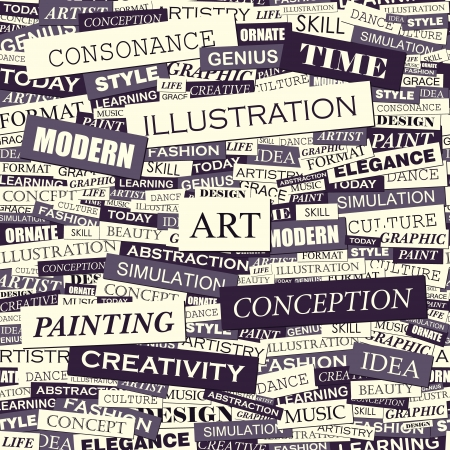ART  Word collage  Seamless vector pattern  Vector