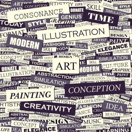 simulation: ART  Word collage  Seamless vector pattern  Illustration