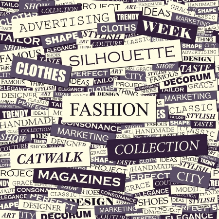 FASHION  Word collage  Seamless vector pattern  Vector