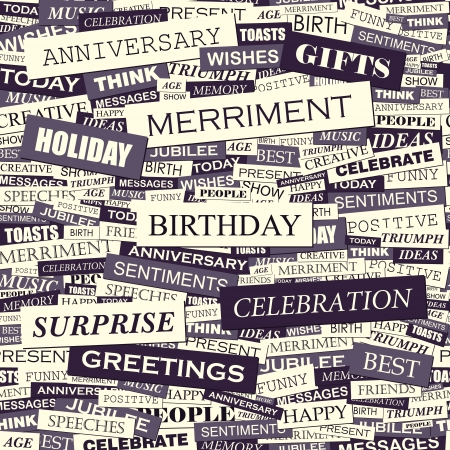 poem: BIRTHDAY  Word collage  Seamless vector pattern  Illustration