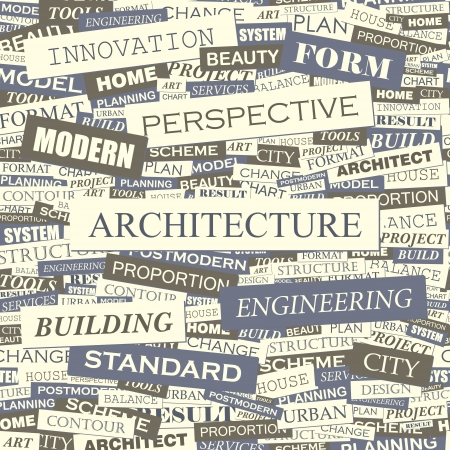 manage clutter: ARCHITECTURE  Word collage  Seamless vector pattern  Illustration