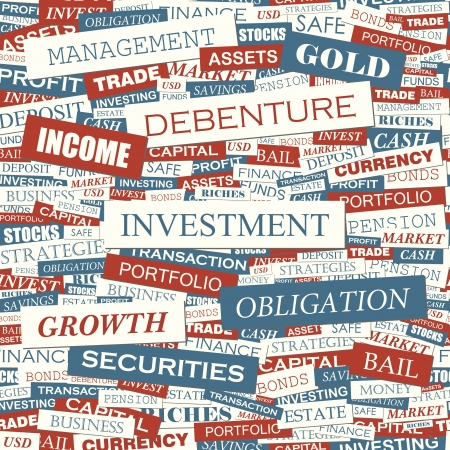 bail: INVESTMENT  Word collage  Seamless vector pattern