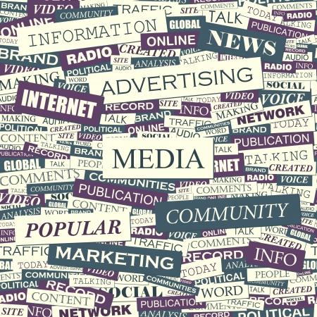 peri�dico: Word collage MEDIA vector patr�n Seamless