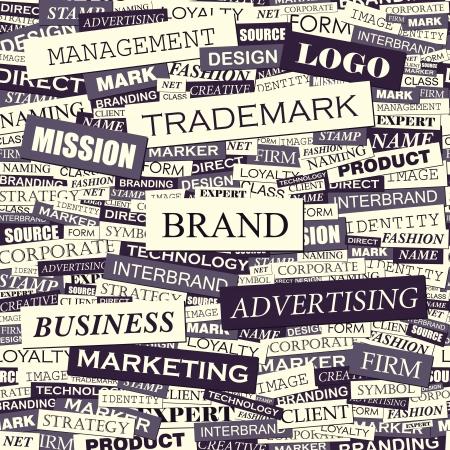 通信: ブランドの言葉のコラージュ  イラスト・ベクター素材