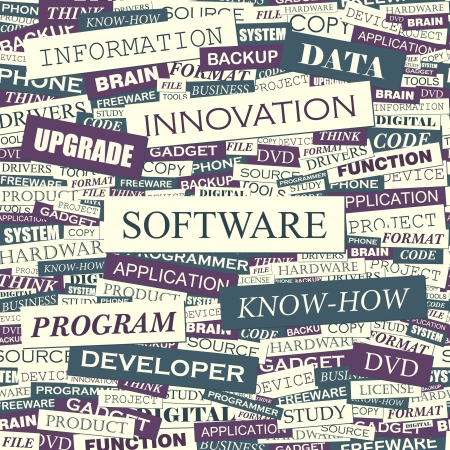 SOFTWARE  Word collage Stock Vector - 15345813