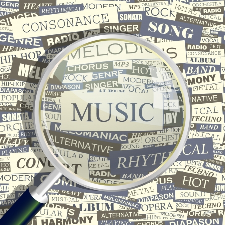 MUSIC  Magnifying glass and seamless background   Vector