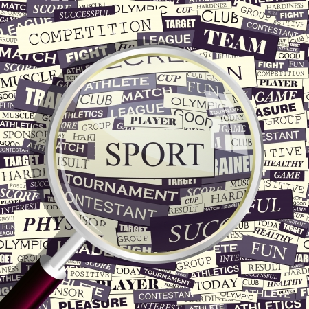 finding: SPORT  Magnifying glass and seamless background