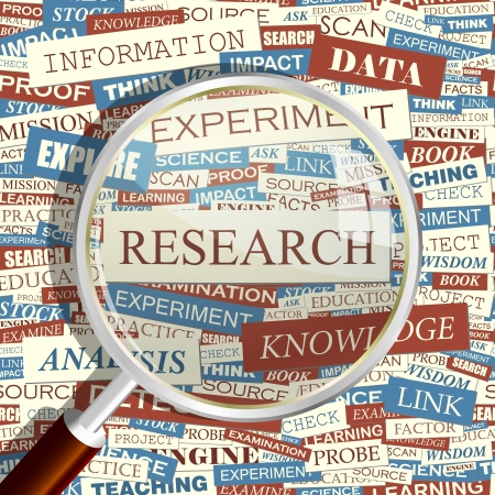 scientific: RESEARCH  Magnifying glass and seamless background
