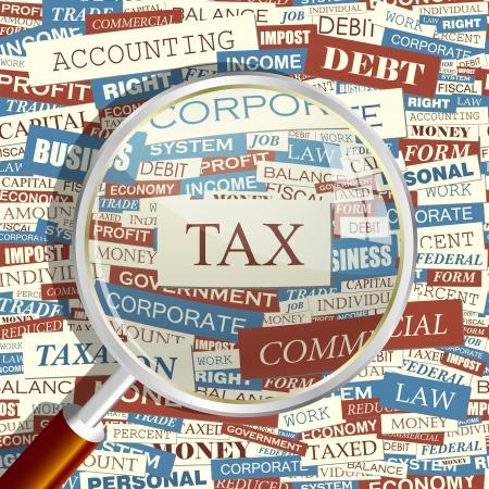 impuestos: IMPUESTO Lupa y de fondo sin fisuras