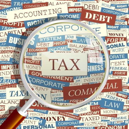 law office: TAX  Magnifying glass and seamless background