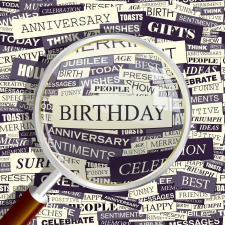 wingding: BIRTHDAY  Magnifying glass and seamless background   Illustration