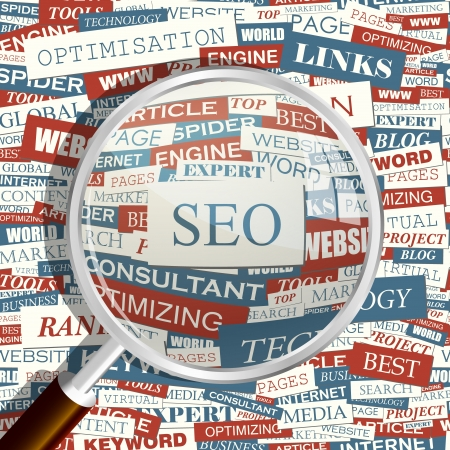 keywords link: SEO  Magnifying glass and seamless background