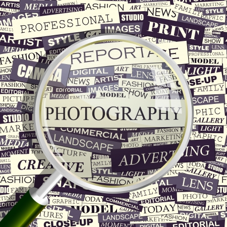 PHOTOGRAPHY  Magnifying glass and seamless background   Vector