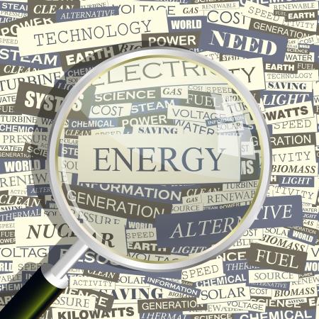 ENERGIE Word collage Naadloze patroon