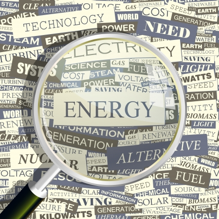 ENERGY  Word collage  Seamless pattern  Illustration