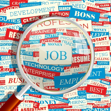 job hunting: JOB  Magnifying glass and seamless background   Illustration