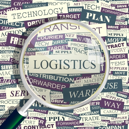 truck on highway: LOGISTICS  Magnifying glass and seamless background
