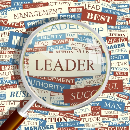 leader concept: LEADER  Word collage  Seamless pattern