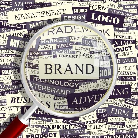 観察: ブランドの言葉のコラージュ  イラスト・ベクター素材