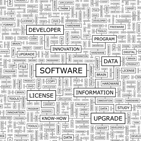 productivity system: SOFTWARE  Seamless vector pattern Illustration