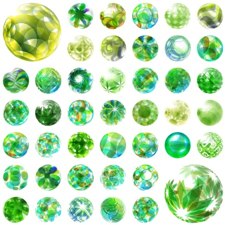 Abstract globe set  Vector ecology illustration  Green energy   Stock Vector - 17430903