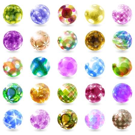 sapphire gemstone: Set of vector glass stones