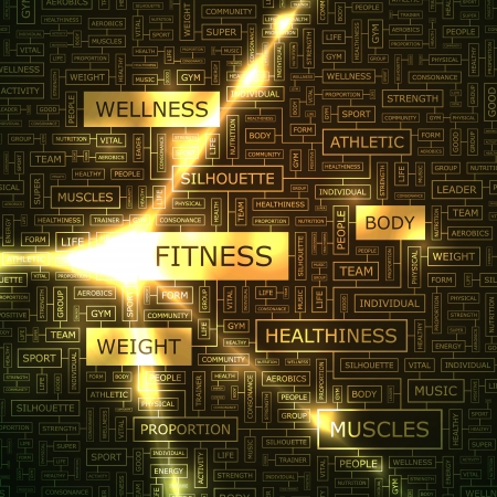 aerobic training: FITNESS  Word collage Illustration