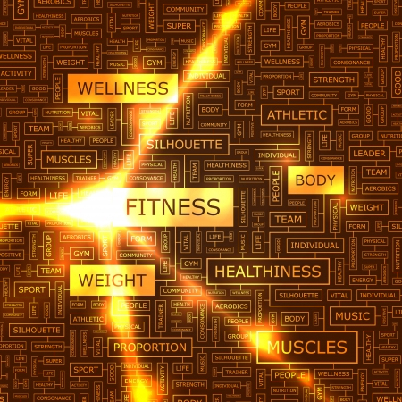 group fitness: FITNESS  Word collage Illustration