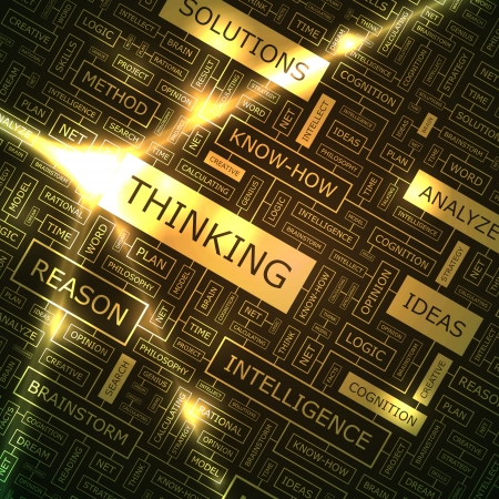 THINKING  Word collage  Vector