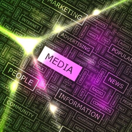 MEDIA  Word collage Vector