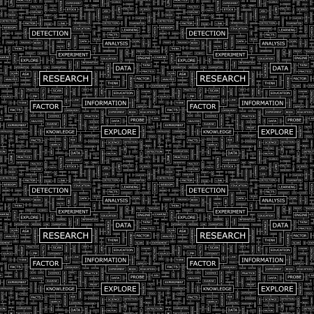 investigating: RESEARCH  Word collage  Seamless vector pattern