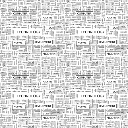 know how: TECHNOLOGY  Word collage  Seamless pattern