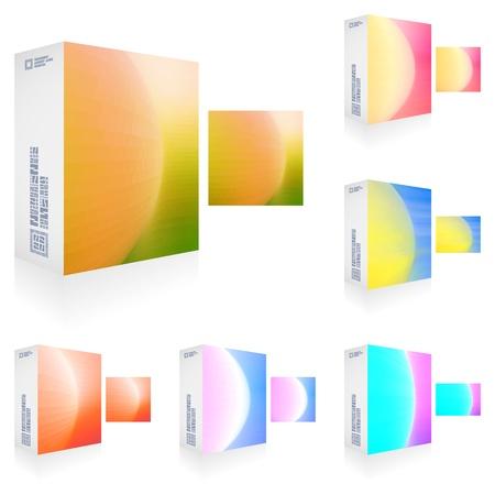glowing skin: Embalaje caja de colecci�n Gran Vectores