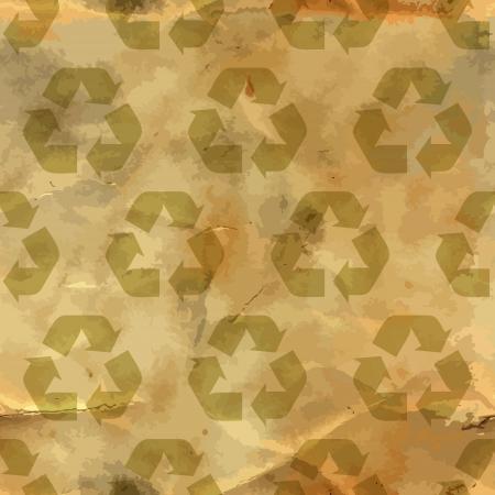 oude krant: Recycleer symbool Naadloze patroon