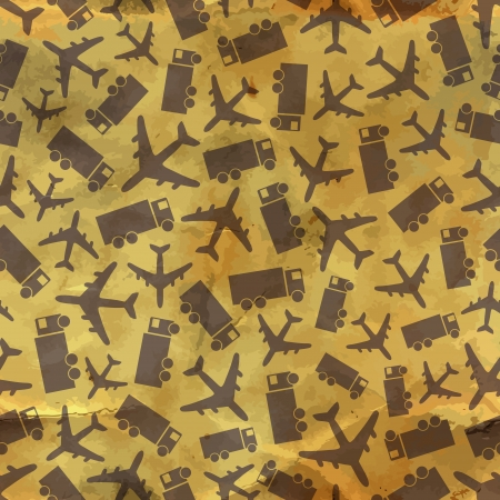 Airplane and truck  Seamless pattern Stock Vector - 18353899