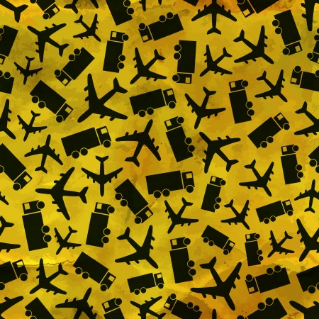 air traffic: Airplane and truck  Seamless pattern  Illustration