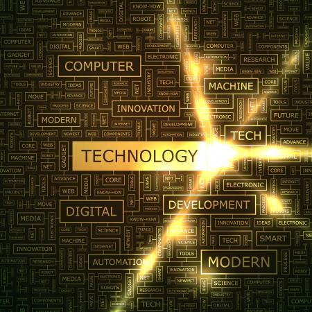 onderzoek: TECHNOLOGIE Word collage Stock Illustratie