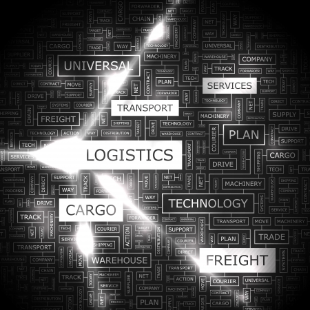 lkw stra�e: LOGISTICS Word collage Illustration