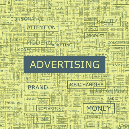 sales book: ADVERTISING  Word collage Illustration