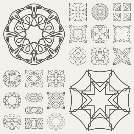 medallion: Collection of different graphic elements for design