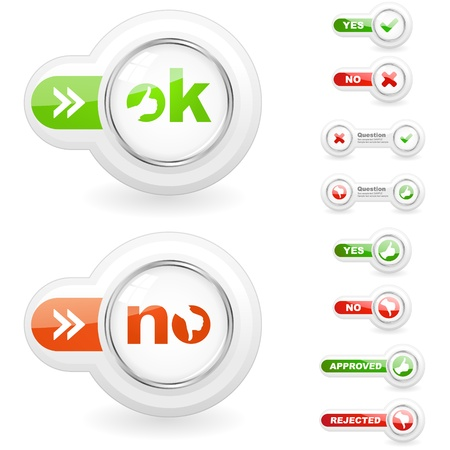 Approved and rejected icon set  Illustration