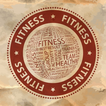 salubrity: FITNESS  Word collage Illustration
