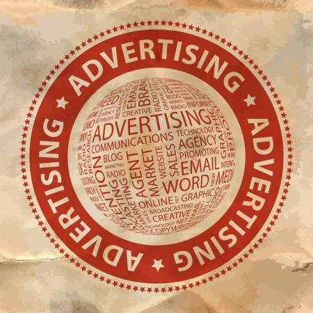 branded product: ADVERTISING  Word collage Illustration