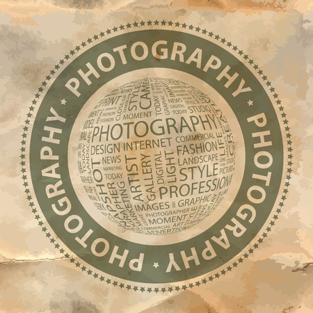 PHOTOGRAPHY   Word collage Stock Vector - 19373315
