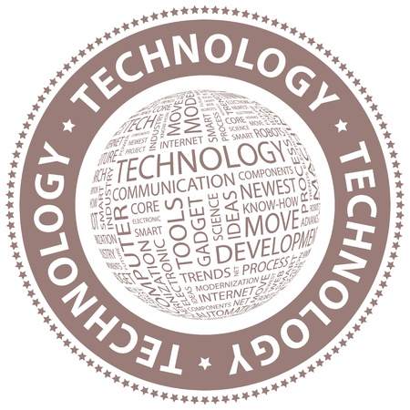 TECHNOLOGY  Word collage  Vector
