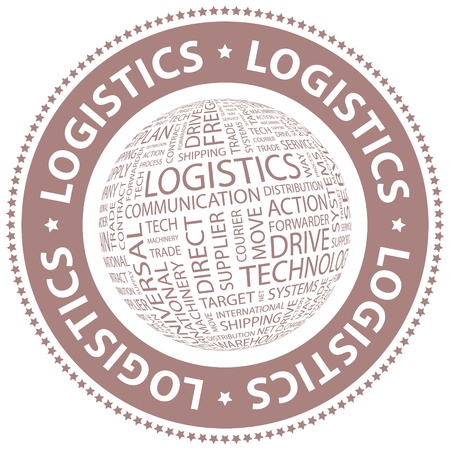 LOGISTICS  Word cloud illustration  Tag cloud concept collage  Vector illustration  Vector